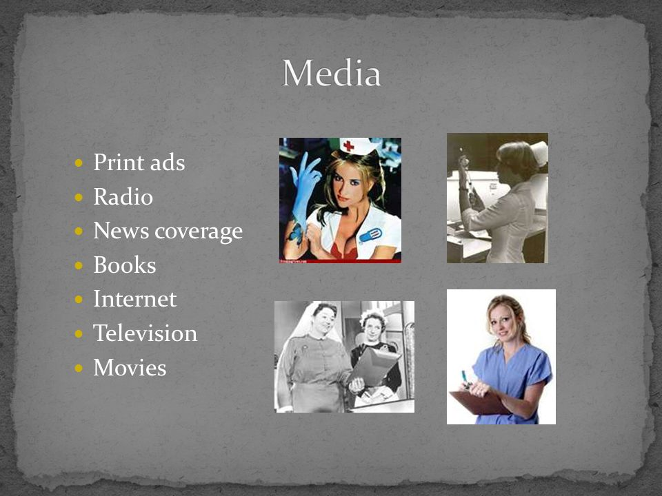 Media Print ads Radio News coverage Books Internet Television Movies