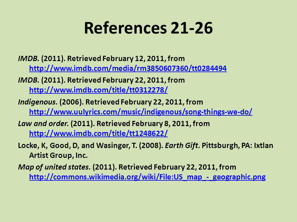 References 21-26 IMDB. (2011). Retrieved February 12, 2011, from http://www.imdb.com/media/rm3850607360/tt0284494.