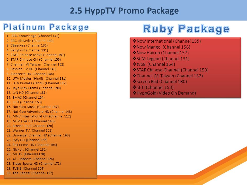 Ruby Package 2.5 HyppTV Promo Package Platinum Package