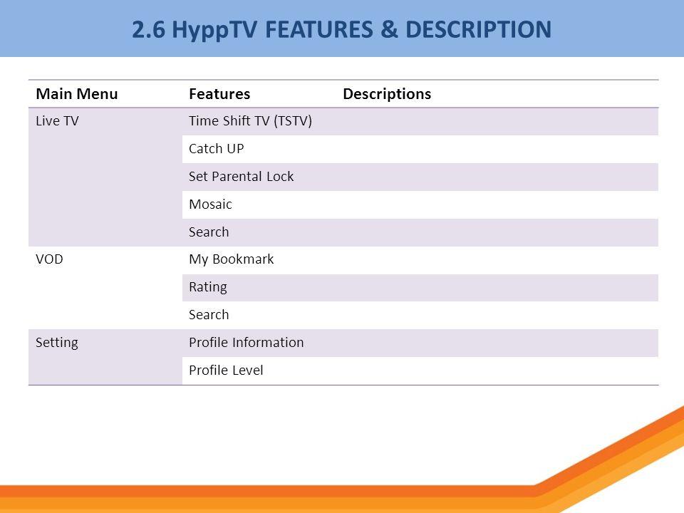 2.6 HyppTV FEATURES & DESCRIPTION