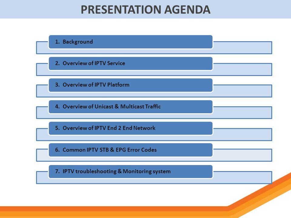 PRESENTATION AGENDA 1. Background 2. Overview of IPTV Service