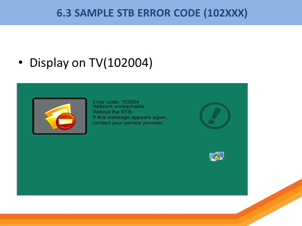 6.3 SAMPLE STB ERROR CODE (102XXX)