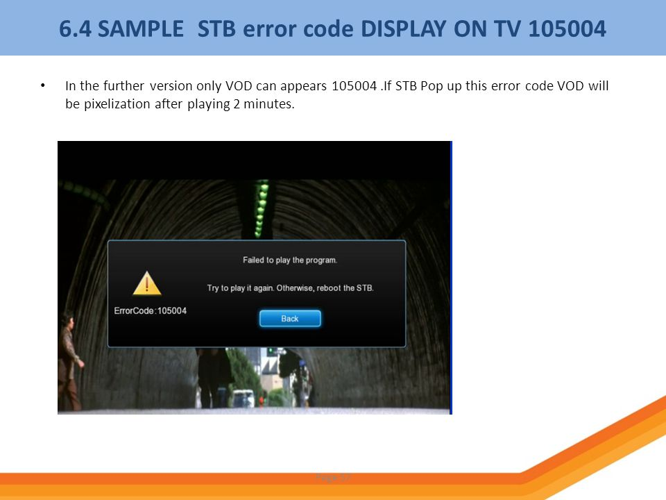 6.4 SAMPLE STB error code DISPLAY ON TV 105004