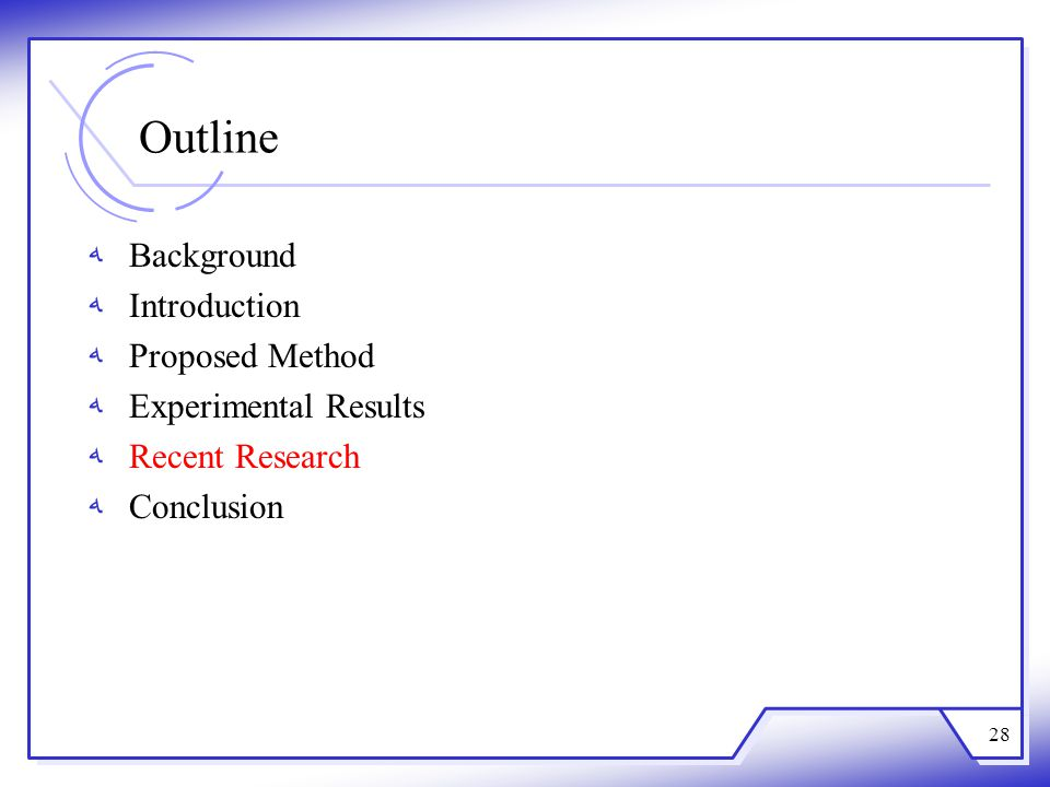 Outline Background Introduction Proposed Method Experimental Results