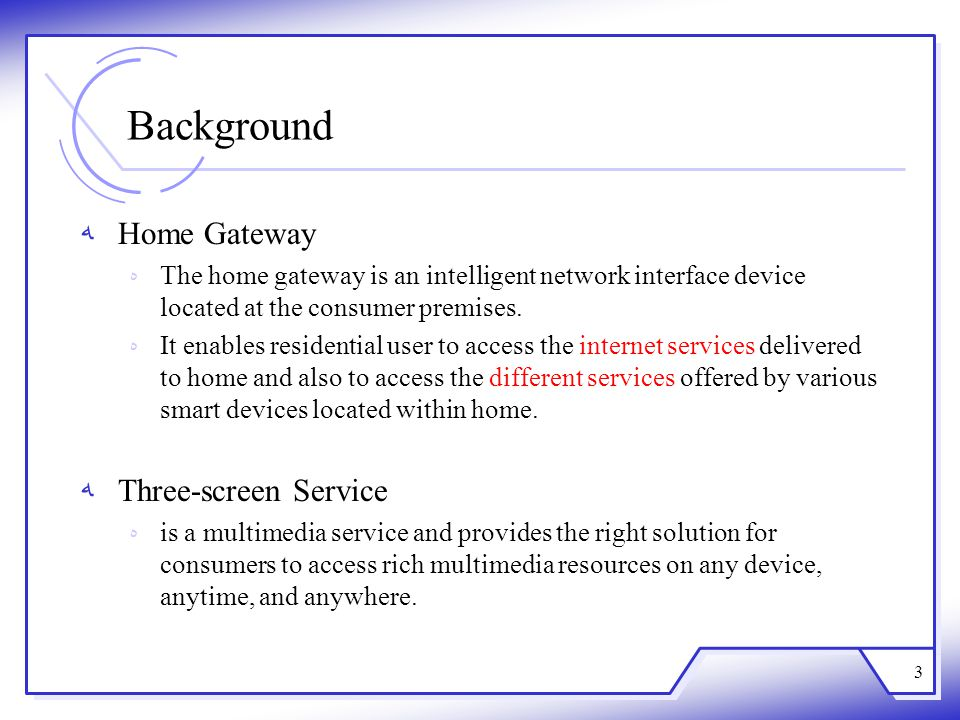 Background Home Gateway Three-screen Service