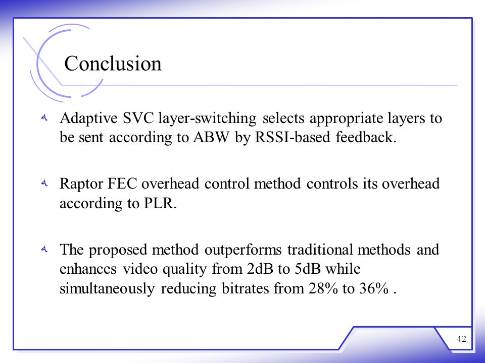Conclusion Adaptive SVC layer-switching selects appropriate layers to be sent according to ABW by RSSI-based feedback.