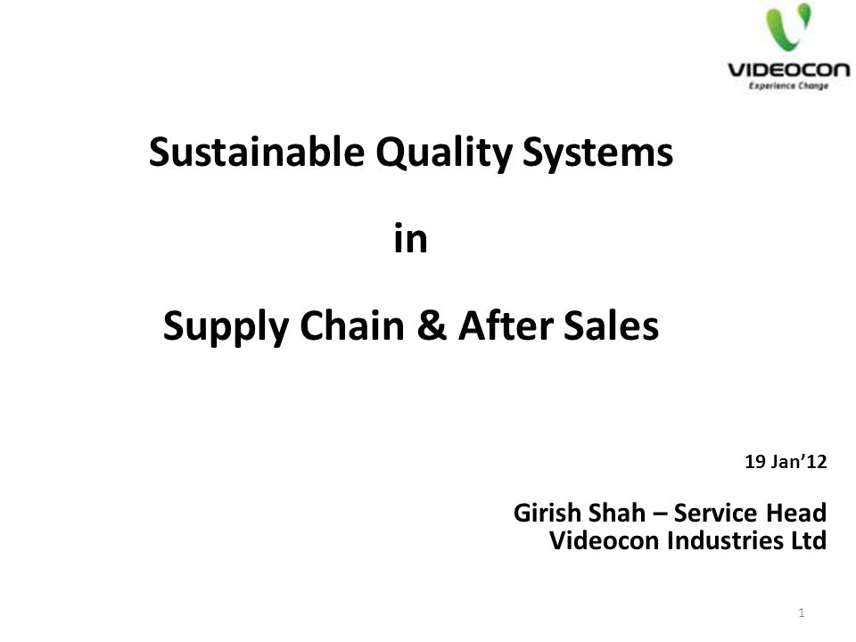 Sustainable Quality Systems Supply Chain & After Sales