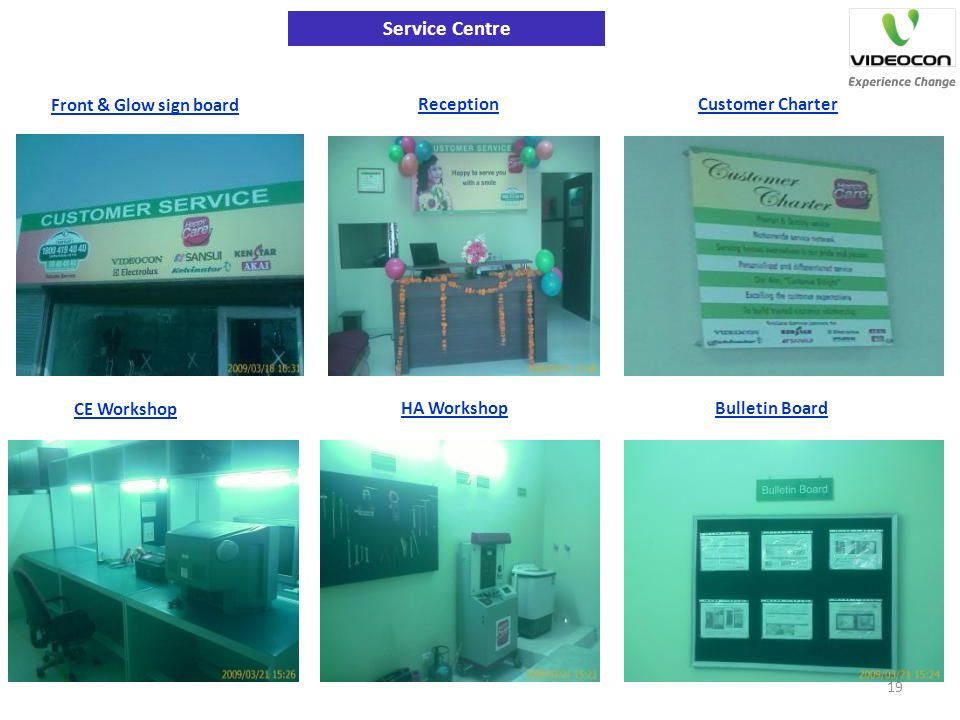 Service Centre Front & Glow sign board Reception Customer Charter