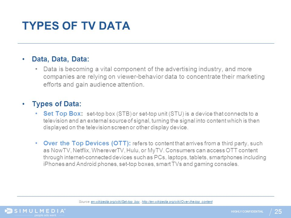 TYPES OF TV DATA Data, Data, Data: Types of Data: