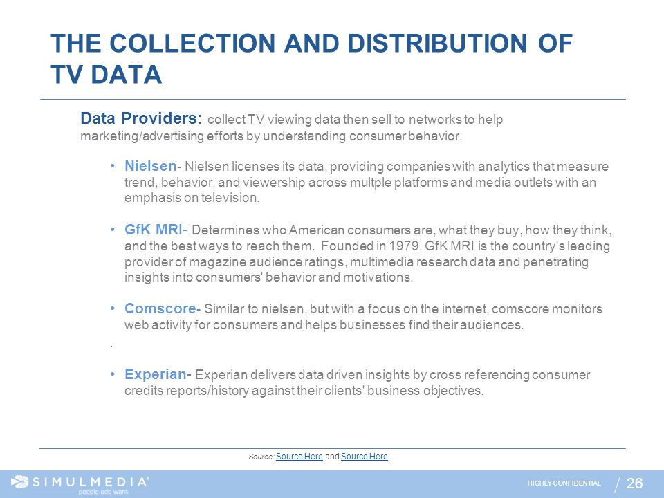 THE COLLECTION AND DISTRIBUTION OF TV DATA