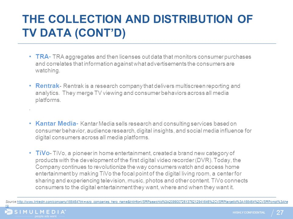 THE COLLECTION AND DISTRIBUTION OF TV DATA (CONT'D)