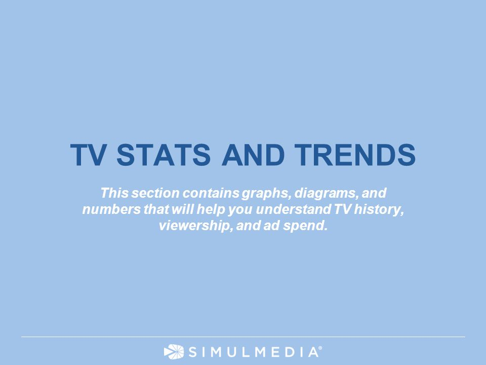 TV STATS AND TRENDS This section contains graphs, diagrams, and numbers that will help you understand TV history, viewership, and ad spend.