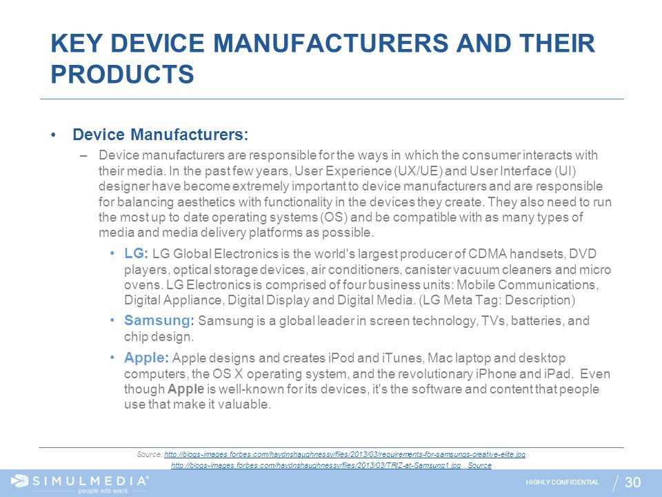 KEY DEVICE MANUFACTURERS AND THEIR PRODUCTS