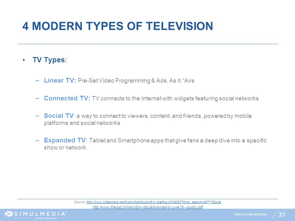 4 MODERN TYPES OF TELEVISION