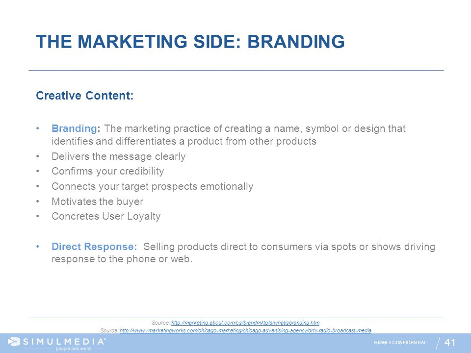 THE MARKETING SIDE: BRANDING