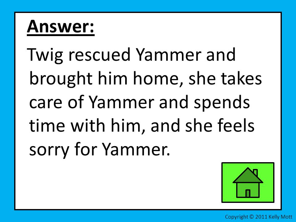 Answer: Twig rescued Yammer and brought him home, she takes care of Yammer and spends time with him, and she feels sorry for Yammer.