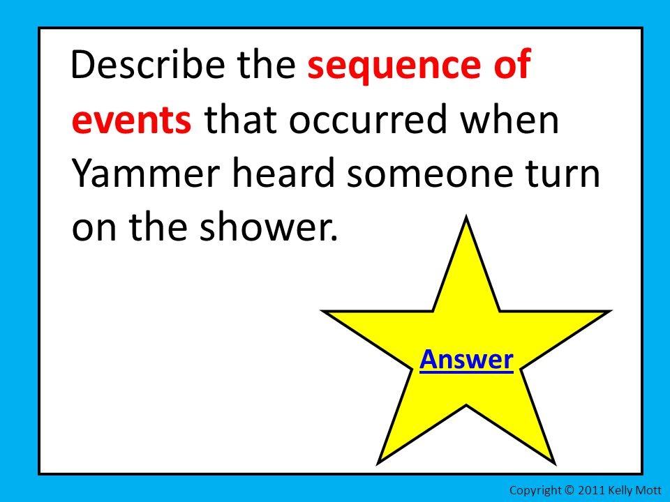 Describe the sequence of events that occurred when Yammer heard someone turn on the shower.