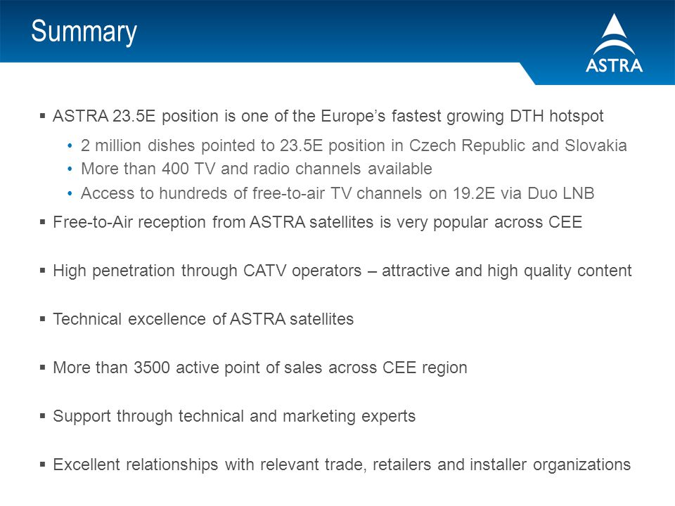 Summary ASTRA 23.5E position is one of the Europe's fastest growing DTH hotspot.