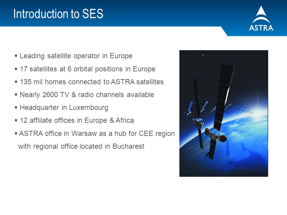 Introduction to SES Leading satellite operator in Europe
