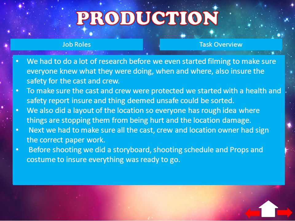 PRODUCTION Job Roles. Task Overview. Producer. Director. Scriptwriter. Camera operator. Editor.
