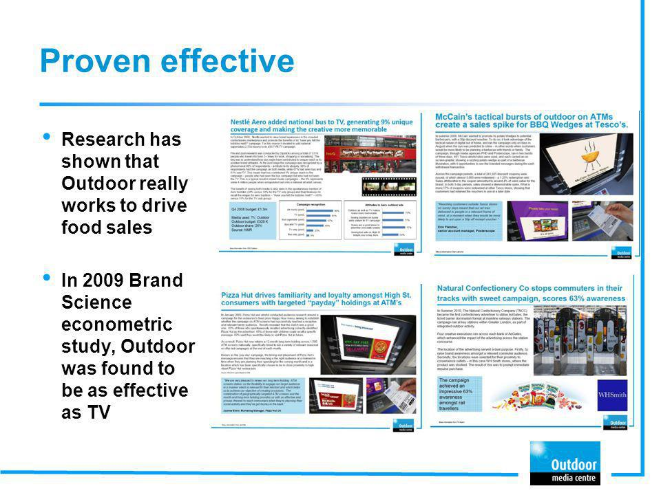 Proven effective Research has shown that Outdoor really works to drive food sales.