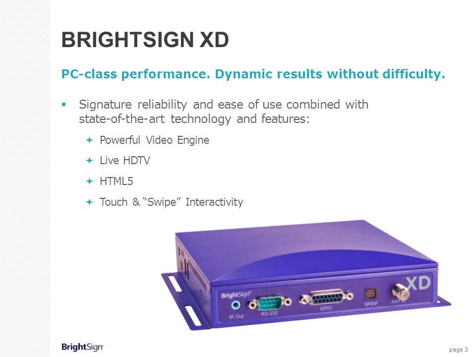 BrightSign XD PC-class performance. Dynamic results without difficulty.