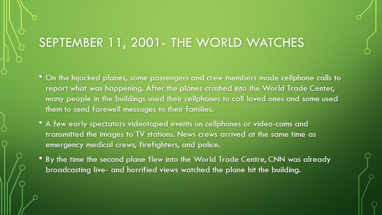 September 11, 2001- The World Watches