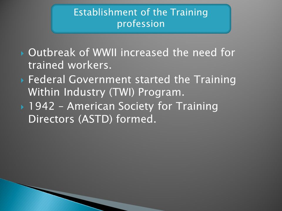 Establishment of the Training profession
