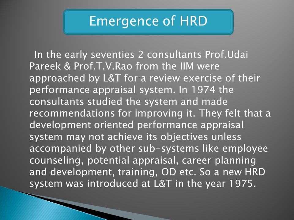 Emergence of HRD