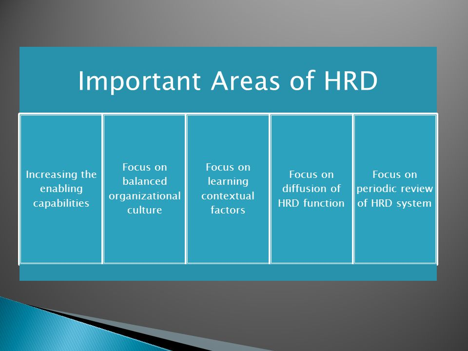 Important Areas of HRD Increasing the enabling capabilities