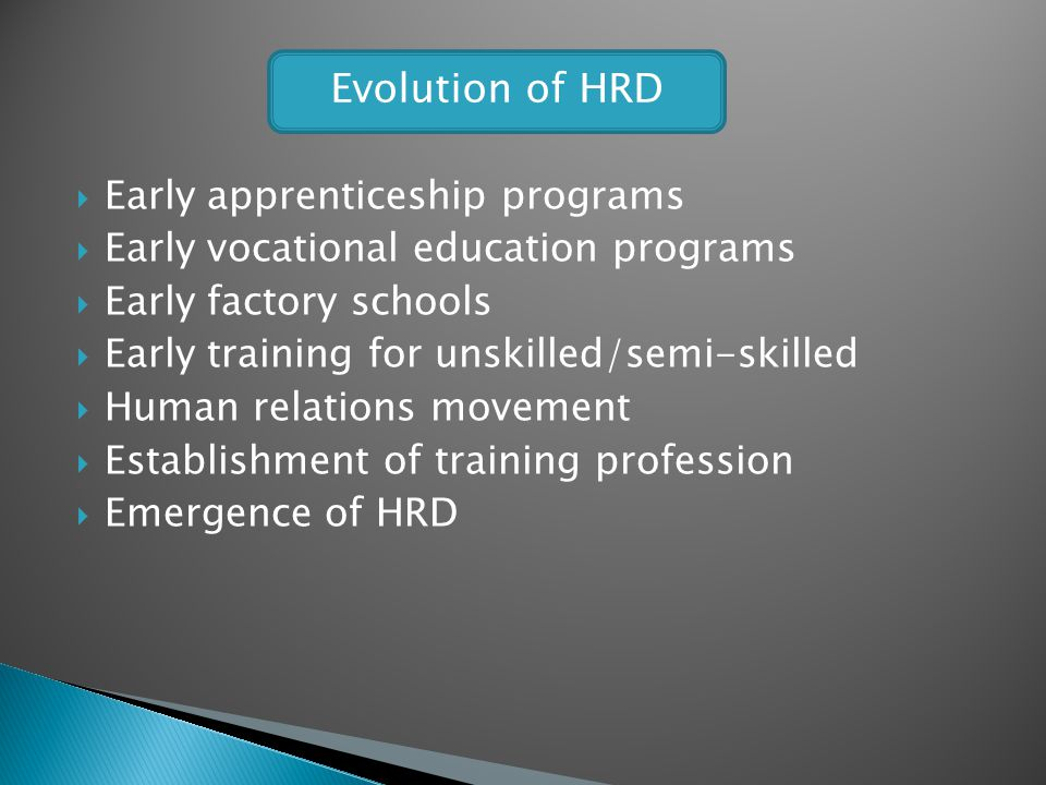 Evolution of HRD Early apprenticeship programs