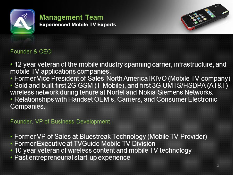 Management Team Experienced Mobile TV Experts