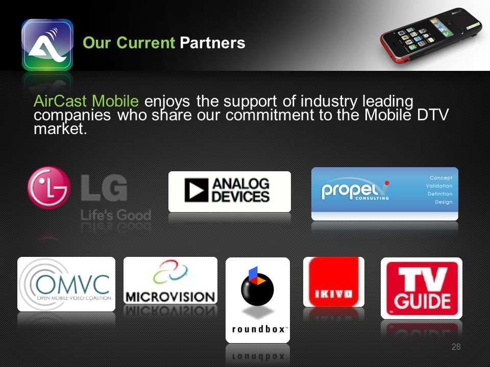 Our Current Partners AirCast Mobile enjoys the support of industry leading companies who share our commitment to the Mobile DTV market.