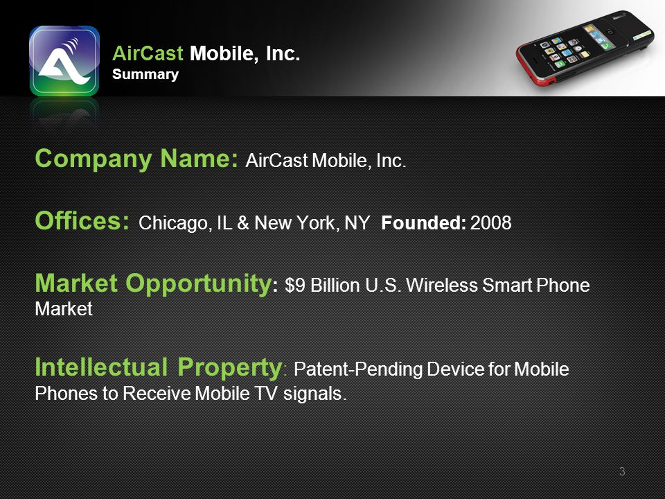 AirCast Mobile, Inc. Summary