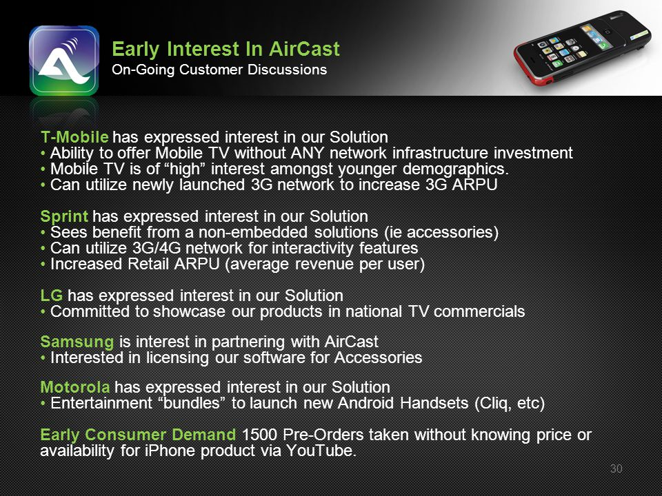 Early Interest In AirCast On-Going Customer Discussions