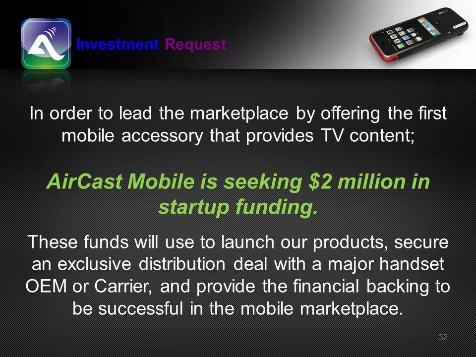 AirCast Mobile is seeking $2 million in startup funding.