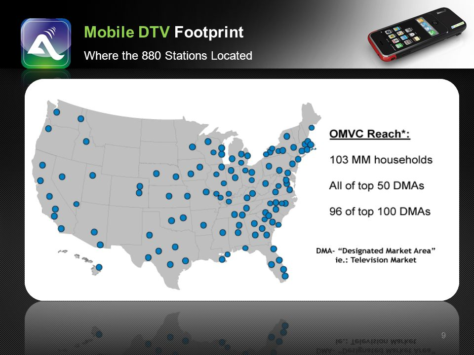 Mobile DTV Footprint Where the 880 Stations Located