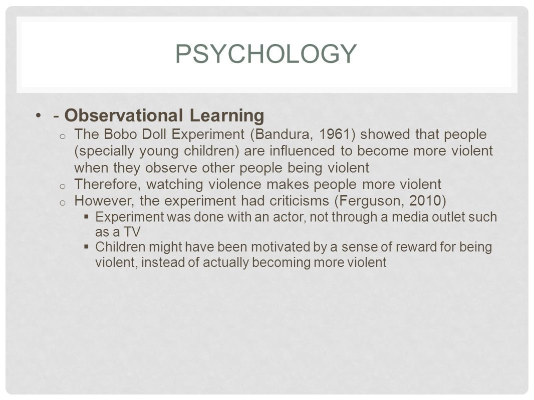 PSYCHOLOGY - Observational Learning