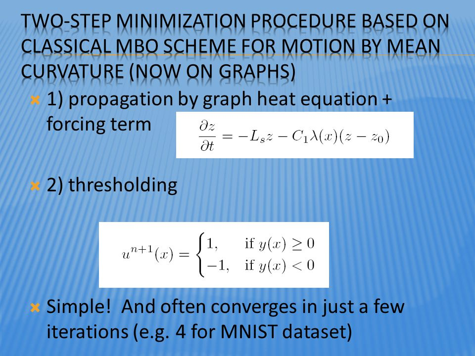 Two-Step Minimization Procedure based on classical MBO scheme for motion by mean curvature (now on graphs)
