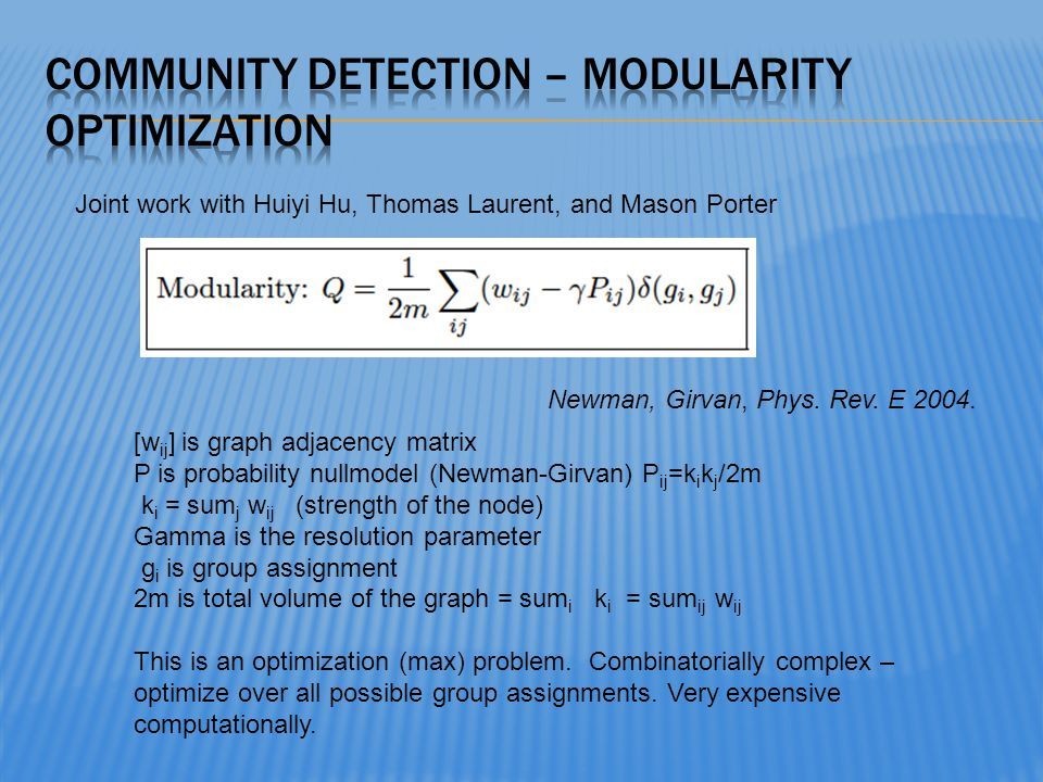 Community Detection – modularity Optimization