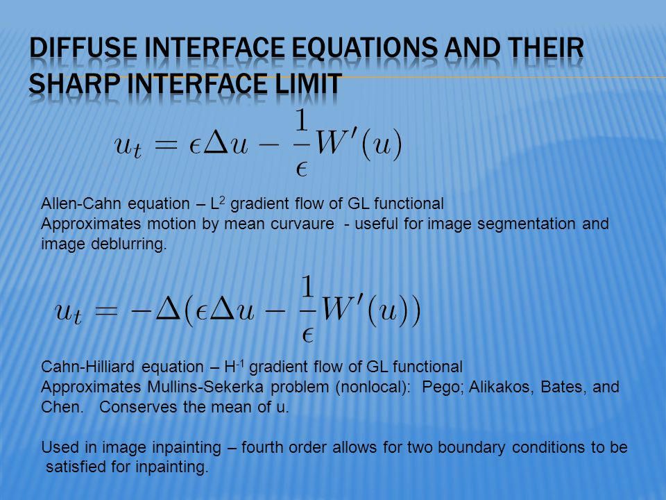 Diffuse interface Equations and their sharp interface limit