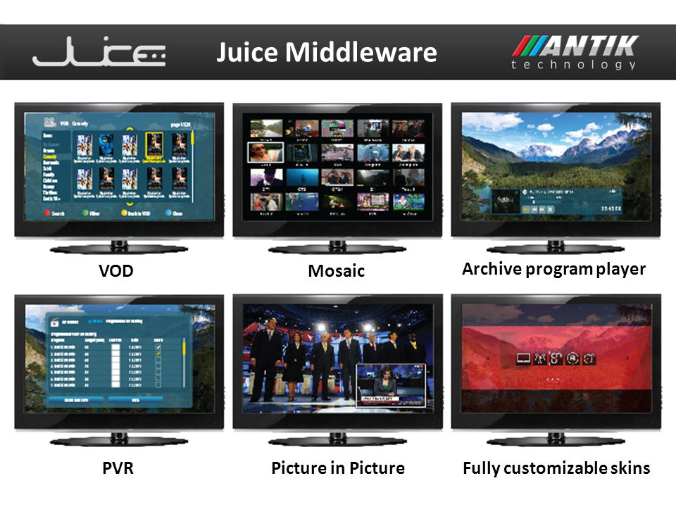 Juice Middleware VOD Mosaic Archive program player PVR