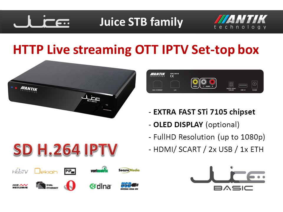 SD H.264 IPTV HTTP Live streaming OTT IPTV Set-top box