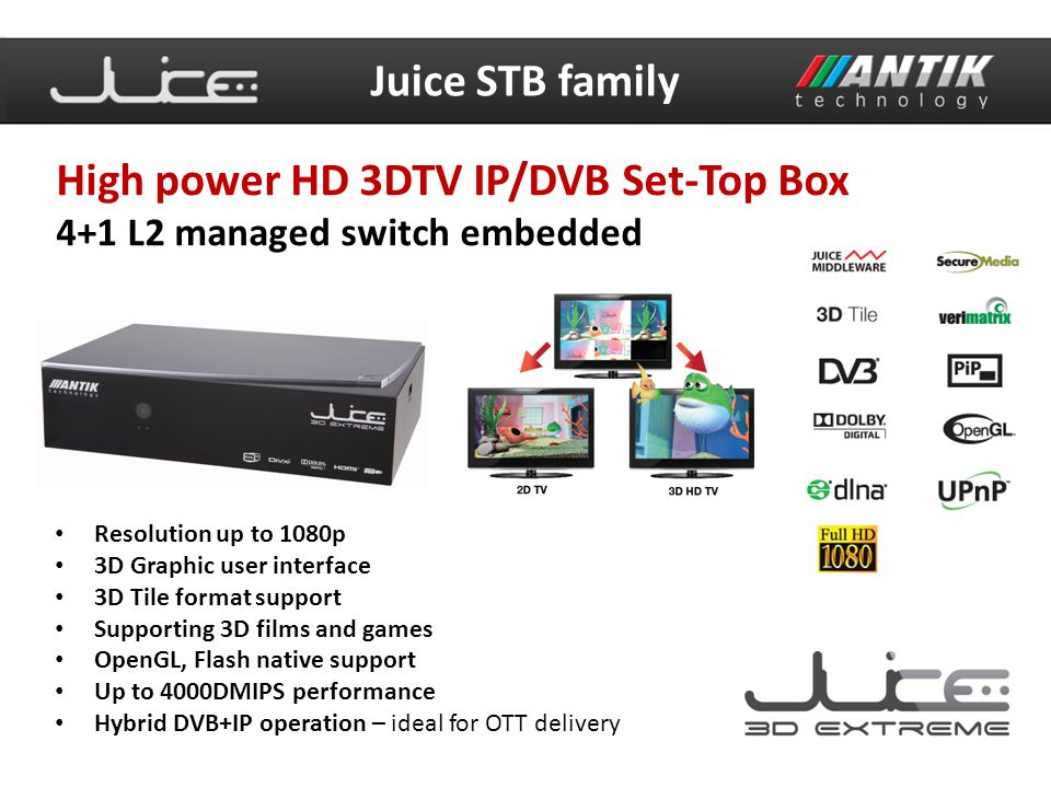 High power HD 3DTV IP/DVB Set-Top Box