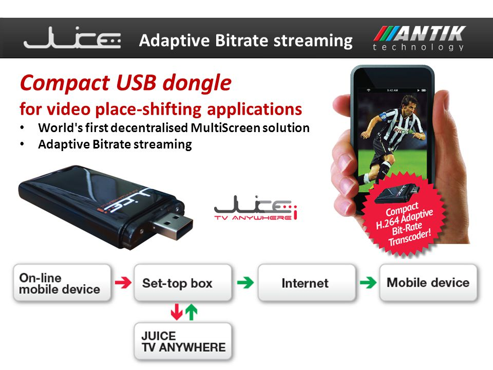 Compact USB dongle Adaptive Bitrate streaming