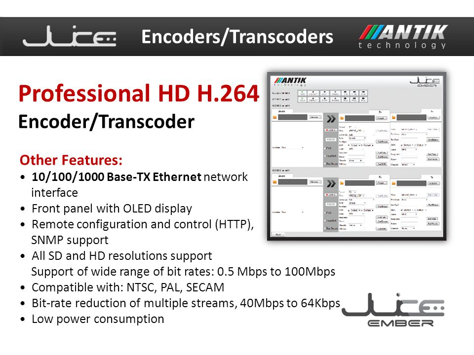 Professional HD H.264 Encoders/Transcoders Encoder/Transcoder