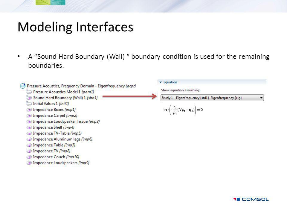 Modeling Interfaces A Sound Hard Boundary (Wall) boundary condition is used for the remaining boundaries.