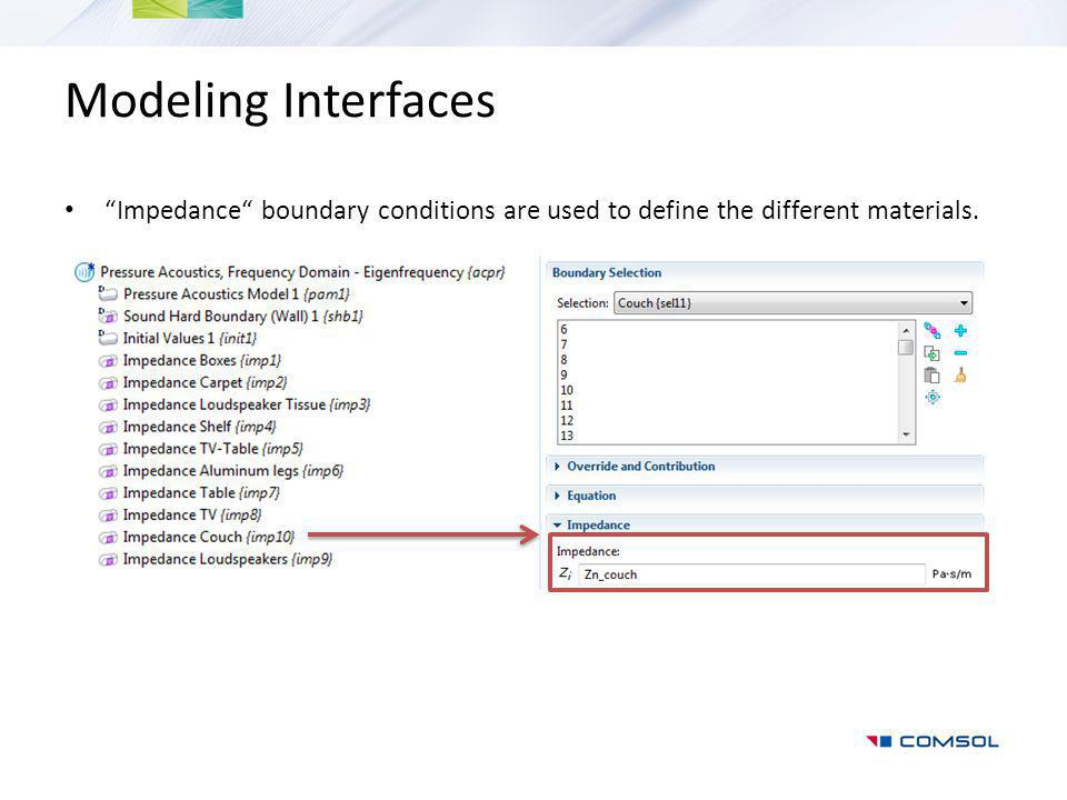 Modeling Interfaces Impedance boundary conditions are used to define the different materials.