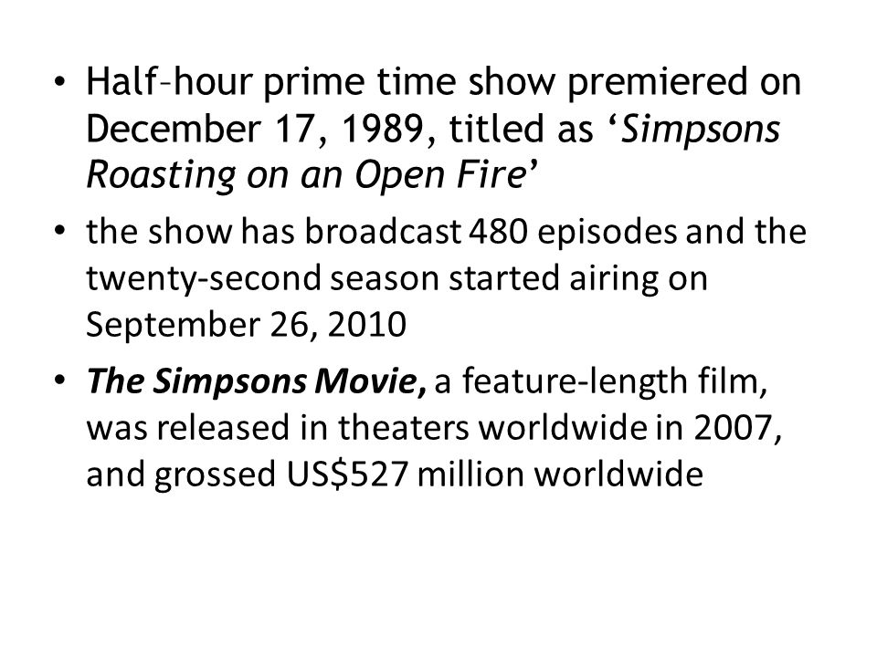 Half–hour prime time show premiered on December 17, 1989, titled as 'Simpsons Roasting on an Open Fire'