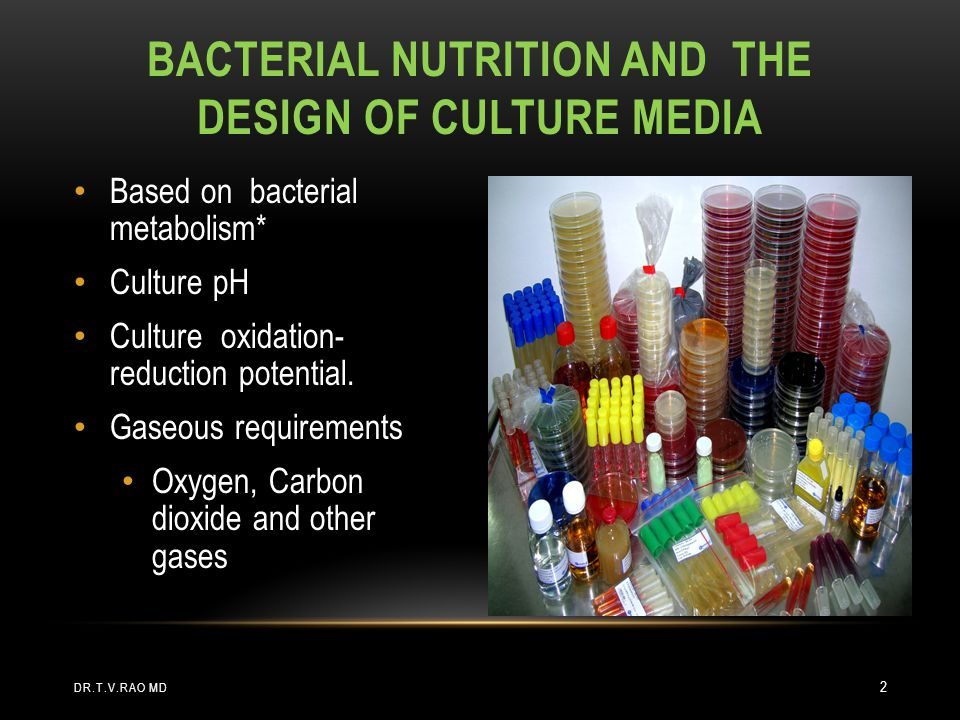 Bacterial nutrition and the design of culture media